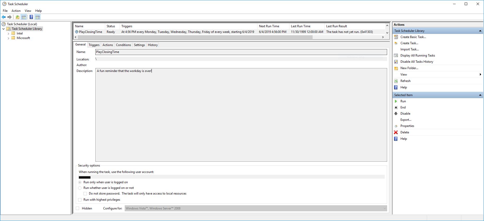 PowerShell & Windows Task Scheduler: Trigger Audio Clip at